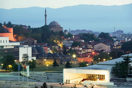 Stock Photo: 1566-449028 Macedonia. Skopje. Mustafa Pasha Mosque and Macedonia National Theater / Dawn