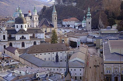 Stock Photo: 1566-450382 View of Salzburg from the Mönschberg. Austria