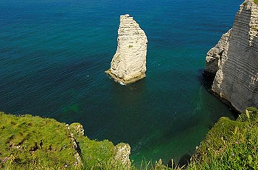 Stock Photo: 1566-450528 Falaise d´aval sea cliff, Étretat. Haute-Normandie. Normandy, France