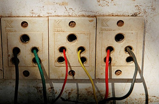 Ponda Goa, India, dangerous electrical panel : Stock Photo
