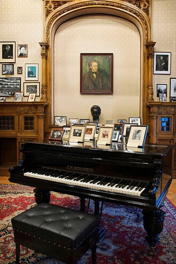 Exhibition room devoted to the world-famous pianist Artur Rubinstein in the Museum of History of the City of Lodz, Lodz, Poland : Stock Photo