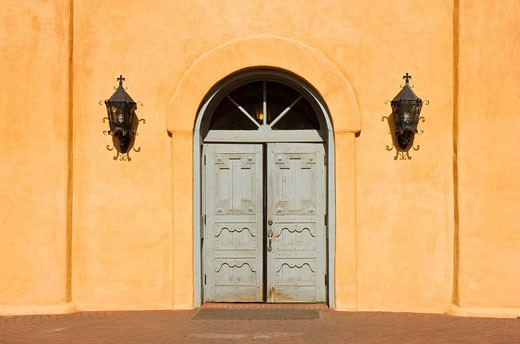 USA  New Mexico  Albuquerque  Old Town  San Felipe de Neri Church : Stock Photo