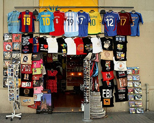 Souvenir shop by the Sagrada Familia, Barcelona. Catalonia, Spain : Stock Photo