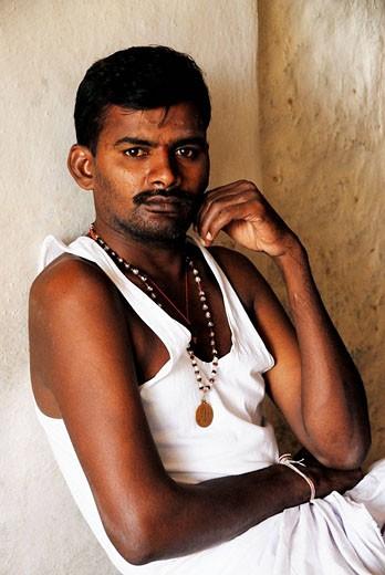 Man at temple. Karnataka, India : Stock Photo