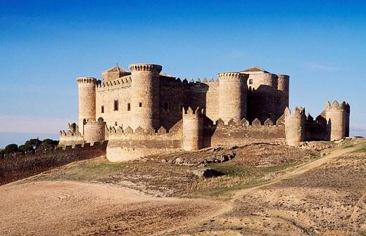 Belmonte castle (15th century). Cuenca province, Spain : Stock Photo