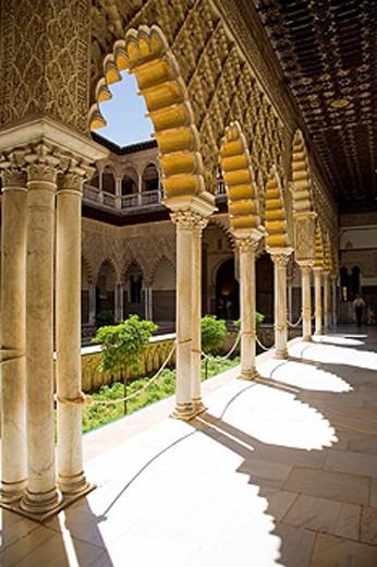 Patio de las Damas (´Courtyard of the Maidens´), Reales Alcazares, Sevilla. Andalucia, Spain : Stock Photo