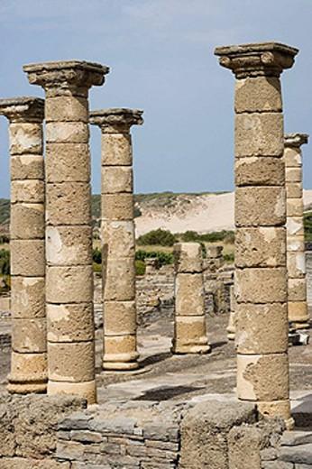 Stock Photo: 1566-453133 Temple of Augustus, ruins of old roman city of Baelo Claudia, Tarifa. Cadiz province, Andalucia, Spain