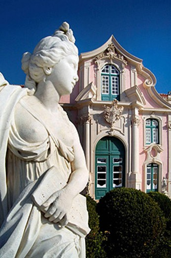 Stock Photo: 1566-453238 Classical female figure in the French-style formal gardens of the Palacio Nacional de Queluz. The Queluz Palace, an example of the rococo in Portugal, was constructed between 1747 and 1787. Queluz, Portugal
