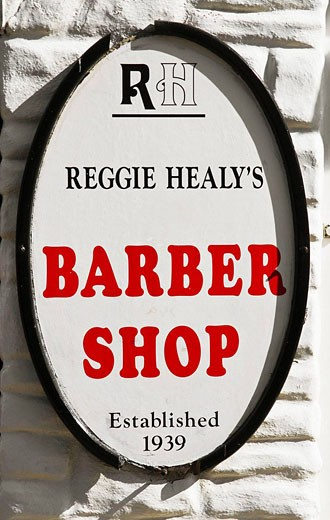 Barber shop sign. Galway City. Co. Galway. Ireland : Stock Photo