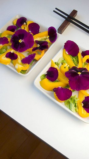 Salad with yellow pepper, pansies and lettuce : Stock Photo