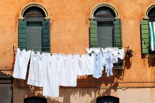 Clothesline, Murano. Veneto, Italy : Stock Photo