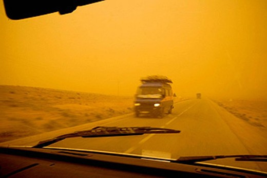 Sand storm in desert, South Morocco : Stock Photo