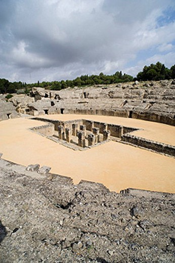 Amphitheatre, ruins of the city of Italica, Santiponce. Sevilla province, Andalucia, Spain : Stock Photo