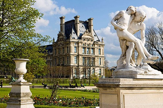 Louvre Museum seen from Tuileries Garden, Paris, France : Stock Photo