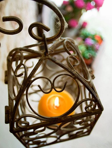 candle in a candle holder : Stock Photo