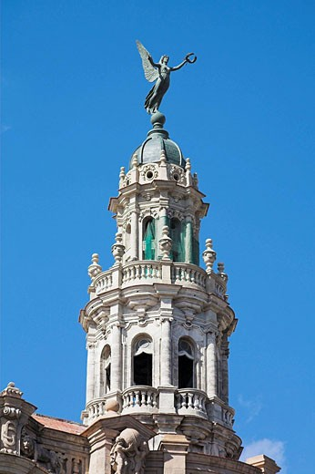 One of the twin towers of the Gran Teatro de la Habana, Grand Theatre, Parque Central, Havana, Cuba : Stock Photo