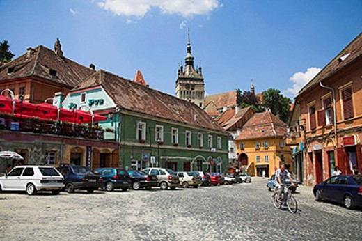 Clock tower, Turnul cu Ceas, and the town of Sighisoara, Transylvania, Romania : Stock Photo