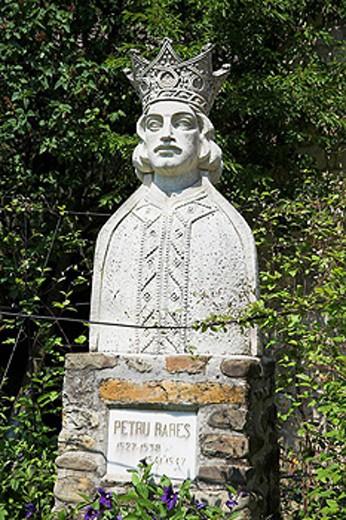 Petru Rares statue, Museum at Moldovita Monastery, Moldovita, Southern Bucovina, Moldavia, Romania : Stock Photo