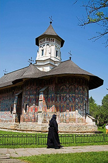 Nun, Church Of The Annunciation, Moldovita Monastery, Moldovita, Southern Bucovina, Moldavia, Romania : Stock Photo