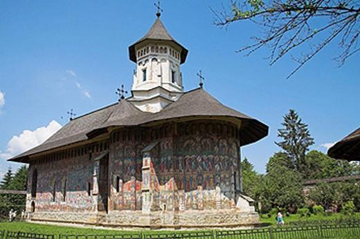 Stock Photo: 1566-458593 Church Of The Annunciation, Moldovita Monastery, Moldovita, Southern Bucovina, Moldavia, Romania