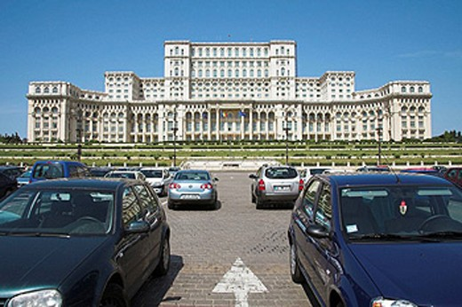 Stock Photo: 1566-458645 Palace of Parliament, also known as Peoples Palace, Casa Poporului, Bucharest, Romania