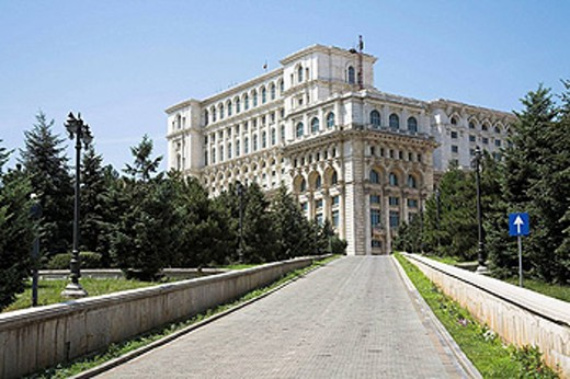 Stock Photo: 1566-458647 Palace of Parliament, also known as Peoples Palace, Casa Poporului, Bucharest, Romania