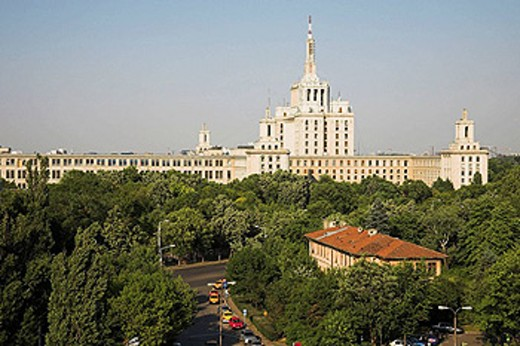 Casa Scanteii also known as Casa Presei Libere, House of the Free Press, Piata Presei Libere, Bucharest, Romania : Stock Photo