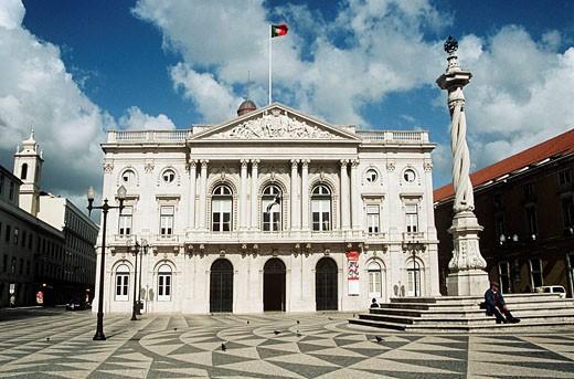 City Hall, Town Hall, Municipal Square, Praca do Municipio, Lisbon, Portugal : Stock Photo