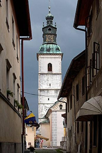 Stock Photo: 1566-461078 Skofja Loka, Church of St James, late-Gothic, 1471, Slovenia