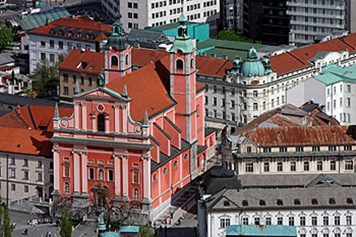 Stock Photo: 1566-461154 Ljubljana, City Center, from Ljubljana Castle, Franciscan Church of the Annunciation, Slovenia