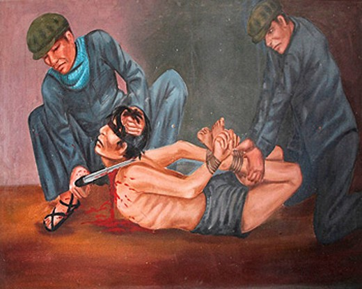 Cambodia  Tuol Sleng museum and former prison and torture chambers of the Khmer Rouge  Phnom Penh  Painting by Van Nath depicting torture techniques  He was a prisoner himself but survived because of his artistic skills : Stock Photo