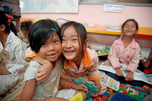 Cambodia  Children´s Center at Anlon Kgnan  Young children playing with toys : Stock Photo
