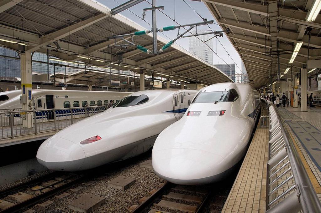 Stock Photo: 1566-462781 Japan-April 2008. Tokyo City. Tokyo Station. The Bullet Train