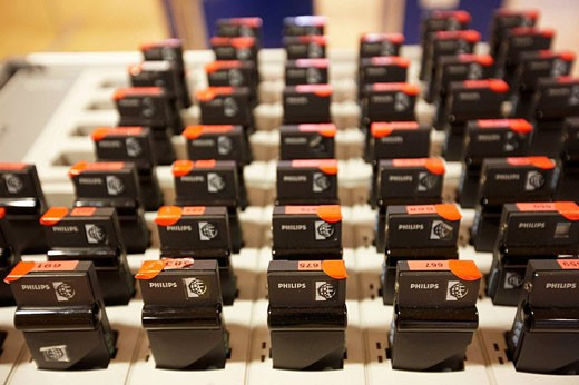 Stock Photo: 1566-462978 Simultaneous translation devices at Bioterra Naturall (Organic products, bioconstruction, renewables energies, and efficient consumption fair), Ficoba, Irun, Basque Country, Spain