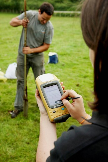 Stock Photo: 1566-463020 Finding GPS coordinates, sampling peat, climate change research, Neiker-Tecnalia, Unit of Environment, Belate, Navarra, Spain