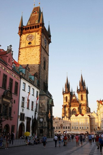 Old Town City Hall and Tyn church, Staromestske Namesti (Old Town Square), Prague, Czech Republic : Stock Photo