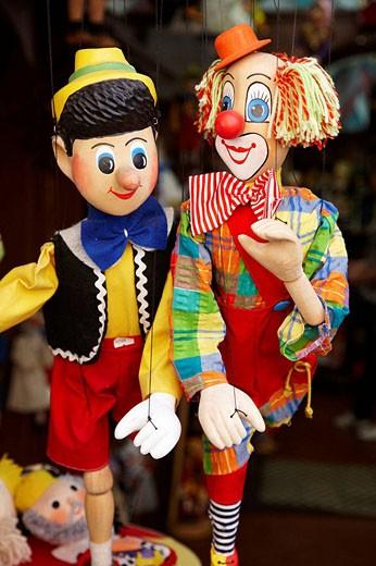 Puppets, souvenirs, Karlova, Prague, Czech Republic : Stock Photo