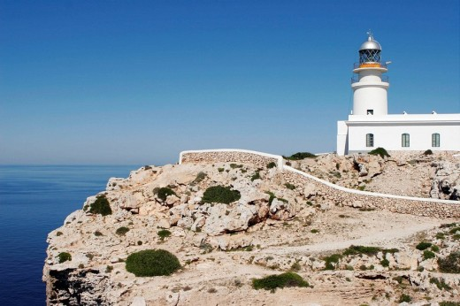 Lighthouse at Cap de Cavalleria cape, Minorca. Balearic Islands, Spain : Stock Photo