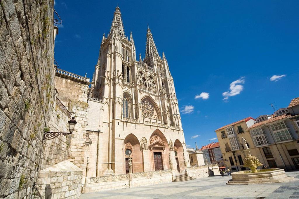 Stock Photo: 1566-464832 Main facade of the gothic cathedral (13th century). Santa María Square. Burgos. Castilla-León. Spain