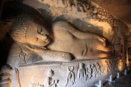 Caves, Buddhist monastery (5 c. AD), UNESCO World Heritage site, Ajanta, India : Stock Photo