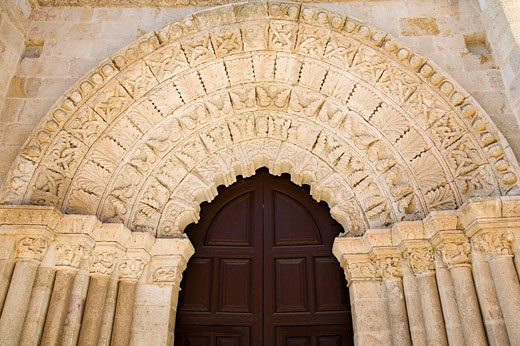 Romanesque front of the church of Santa Maria Magdalena, Zamora. Castilla-Leon, Spain : Stock Photo