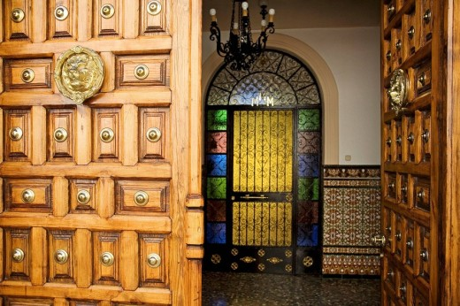Entrance door to house, Cañete la Real. Malaga province, Andalucia, Spain : Stock Photo
