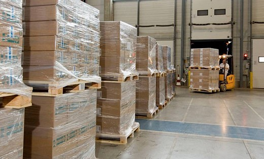 Industry - Distribution and picking, palettes waiting to be loaded in a truck, France : Stock Photo