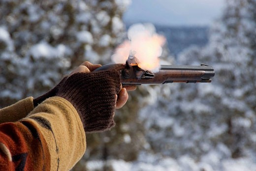 Stock Photo: 1566-466570 Firing on rifle range, Grizzly Mountain Long Rifles Horse Ridge Rendezvous, Deschutes County, Oregon, USA