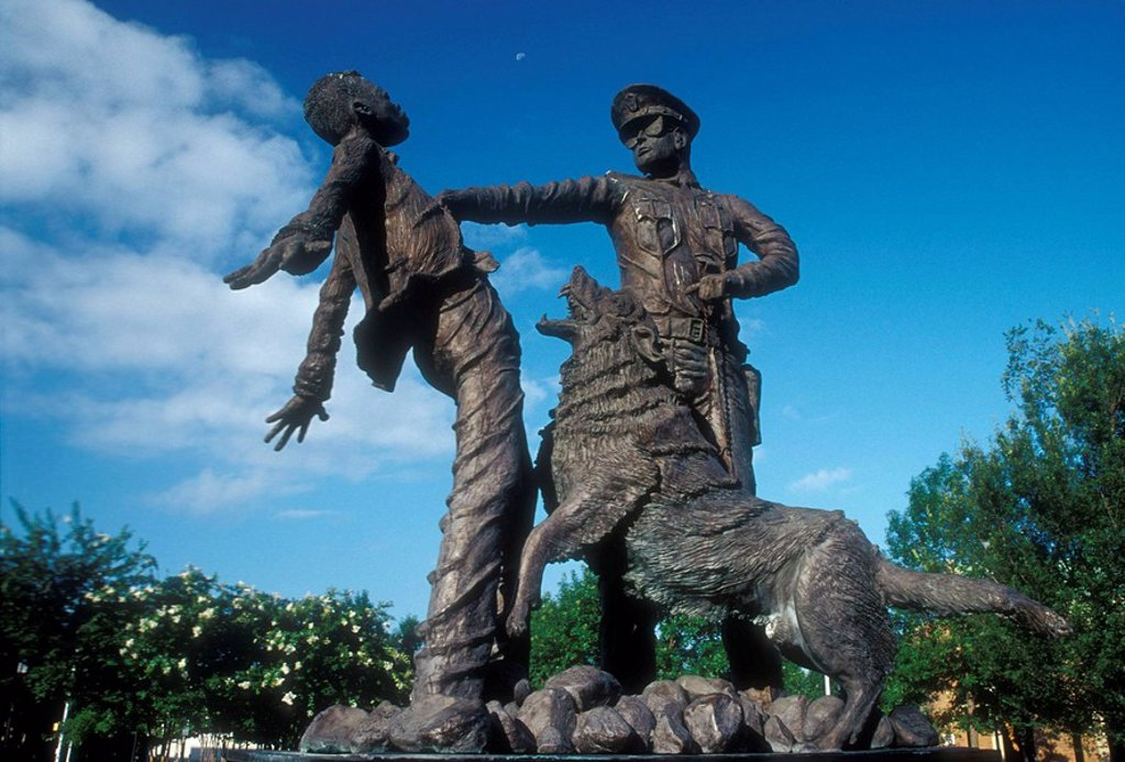 Civil Rights Foot Soldier sculpture, Kelly Ingram Park, Birmingham, Alabama, USA : Stock Photo