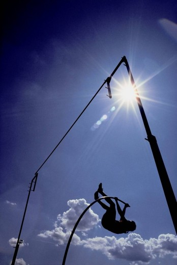 Man Pole Vaulting, Ottawa, Ontario, Canada : Stock Photo