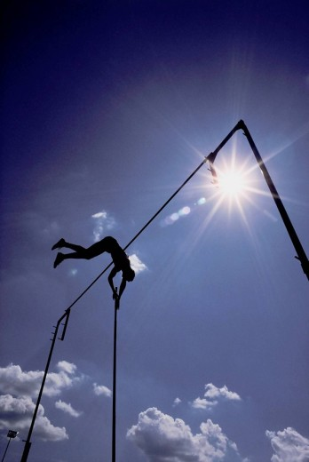 Stock Photo: 1566-466906 Man Pole Vaulting, Ottawa, Ontario, Canada