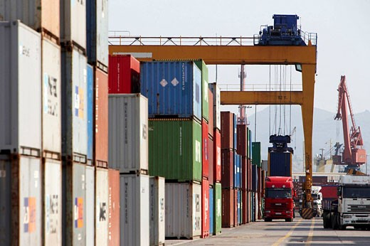 Cargo terminal. Port of Bilbao, Biscay, Basque Country, Spain : Stock Photo