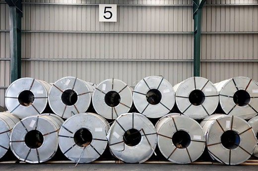 Rolls of sheet steel. Port of Bilbao, Biscay, Basque Country, Spain : Stock Photo