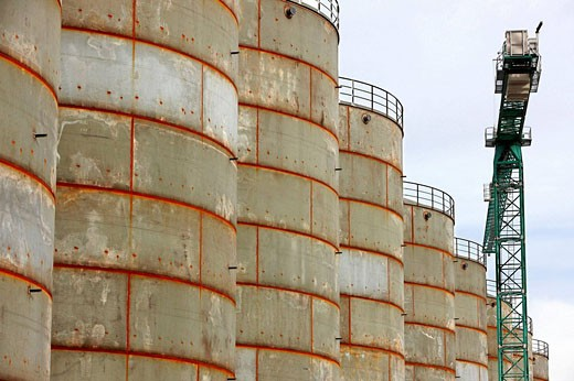 Fuel tanks. Port of Bilbao, Biscay, Basque Country, Spain : Stock Photo